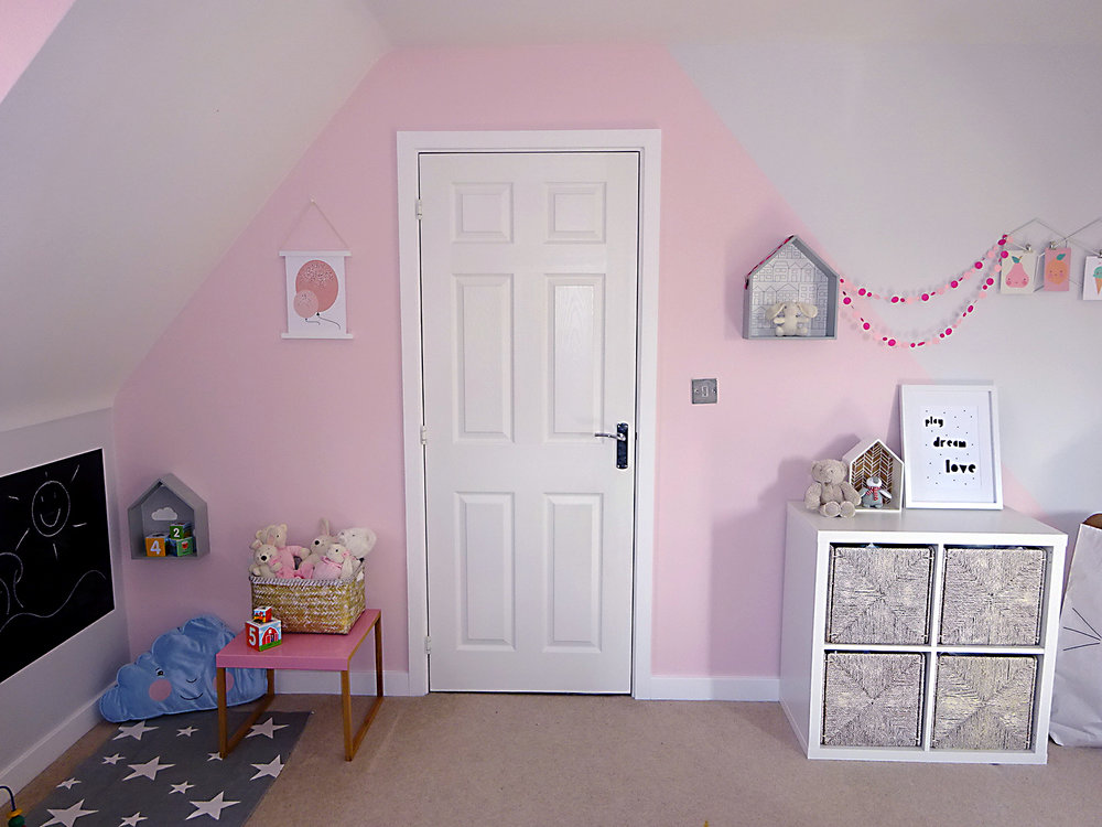 girls bedroom pink grey