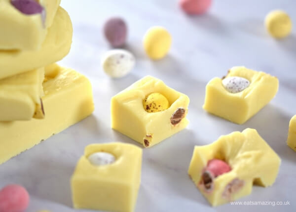 Mini eggs white chocolate fudge