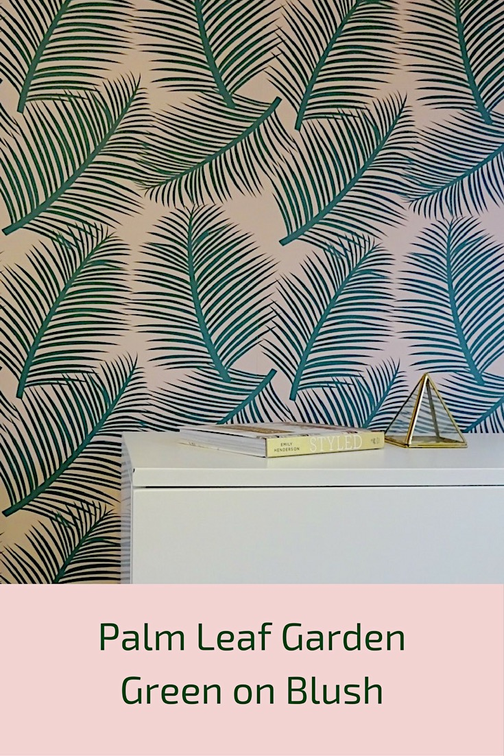 palm leaf garden wallpaper green on blush