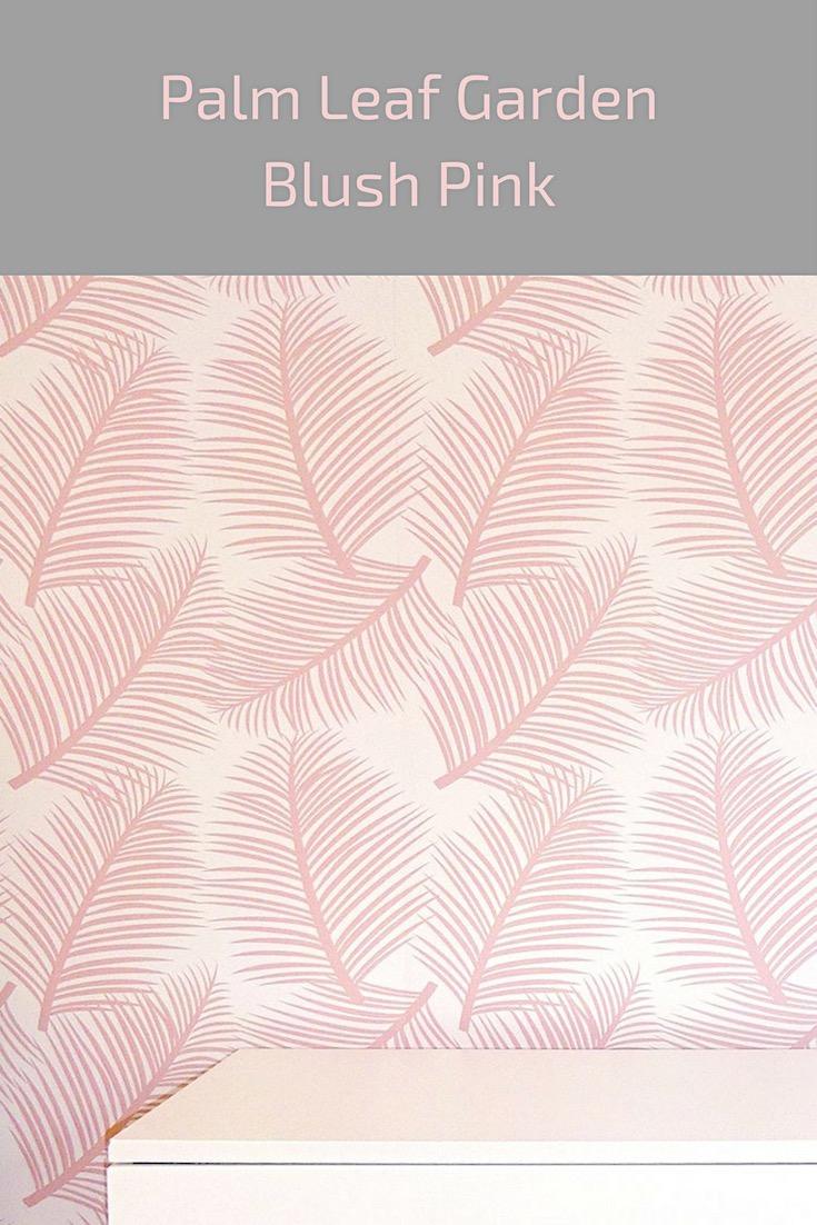 palm leaf garden wallpaper blush pink