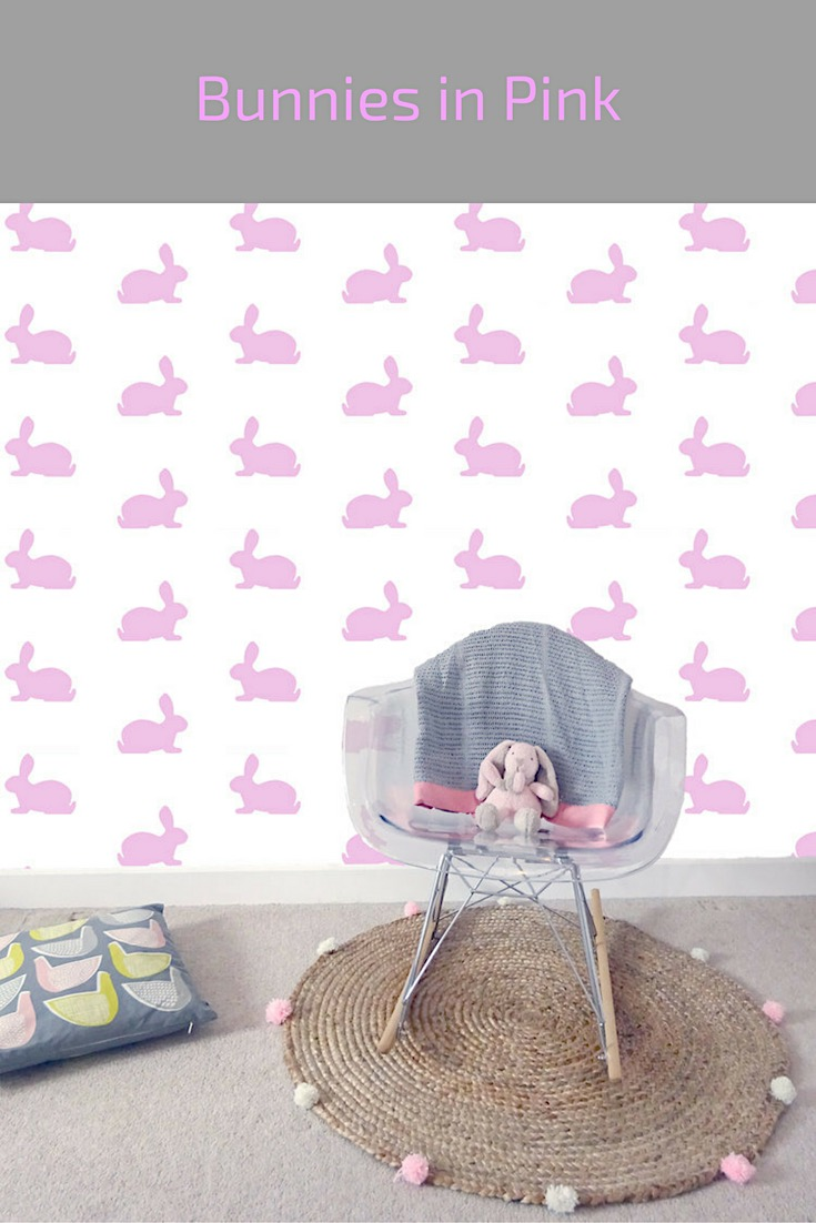 bunnies in pink wallpaper
