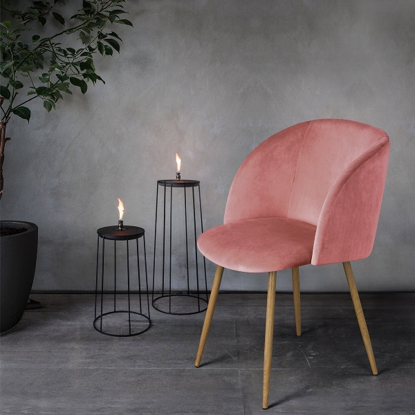 Not exactly the pale shade of millennial pink but this chair will turn heads, and it is pink velvet!  Rose Pink velvet chair, £98