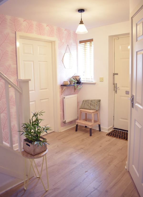 Millennial Pink wallpaper, why not? Our hallway was redecorated with the  Palm Leaf Garden wallpaper in blush pink, £45 per 10m roll