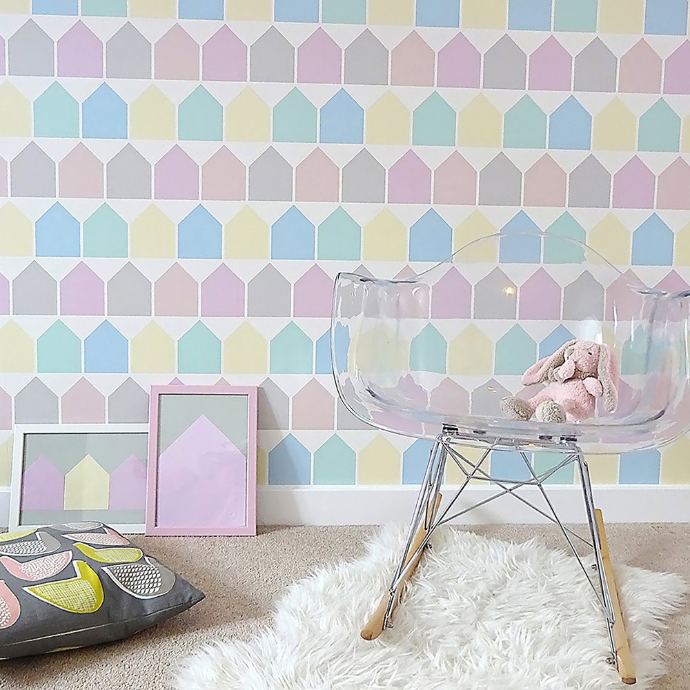 beach huts wallpaper nursery