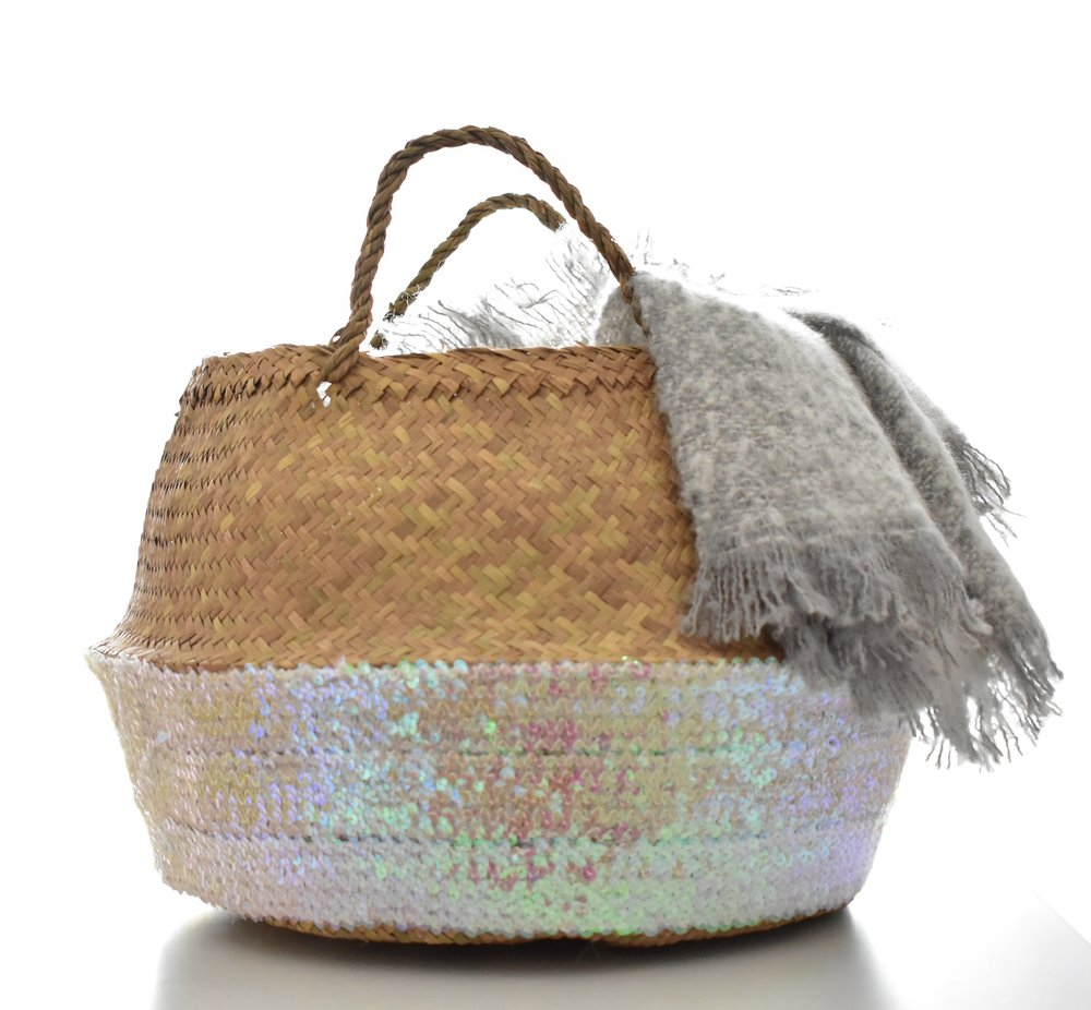 Toulouse Rose Sequin Basket