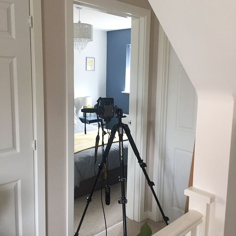 The guest bedroom being shot for Homestyle Magazine