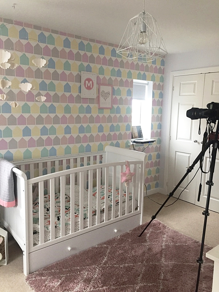 The nursery being photographed for Home Style Magazine, here a shot of our beautiful  Bella Rose and May  prints and our  Beach Huts Wallpaper