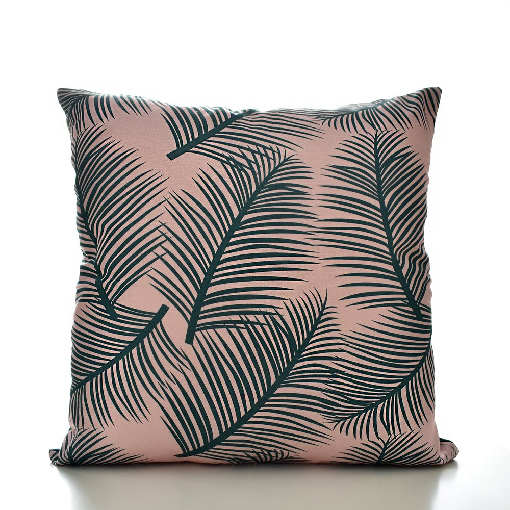 Palm Leaf Garden Cushion green on blush