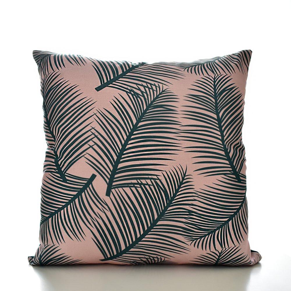 Palm Leaf Garden Cushion green on blush