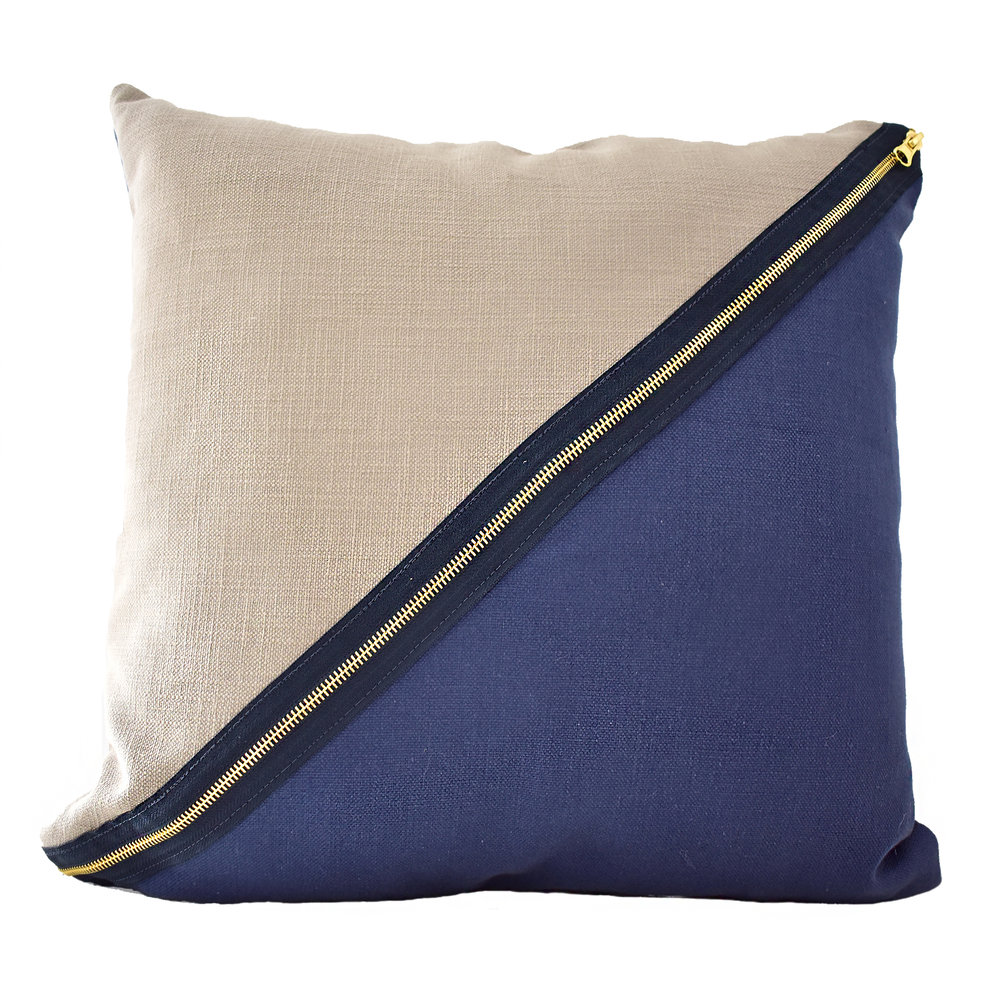 Diagonal Taupe & Navy Cushion with Gold Zipper detail