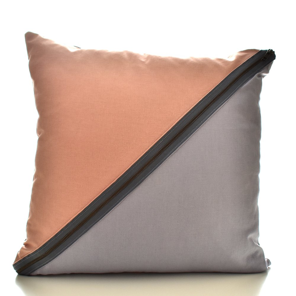 Diagonal Blush Pink & Grey Cushion with Brass Zipper detail
