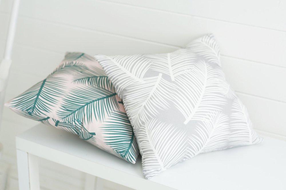 Palm Leaf Garden cushions in Green, Grey or Pink.