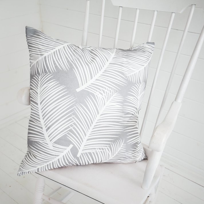 palm leaf grey cushion