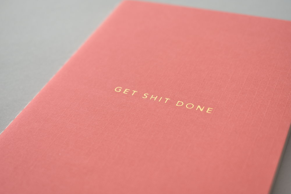 get shit done notebook pink