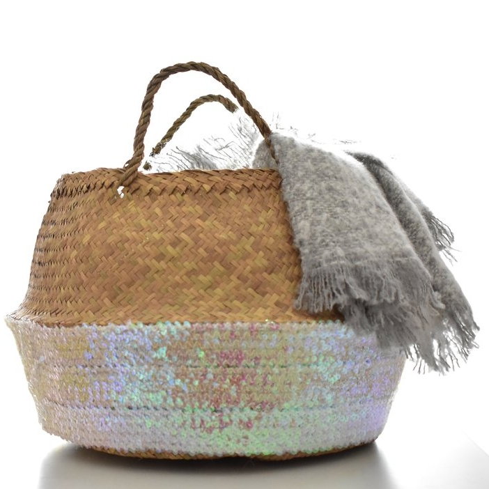 rose sequin basket
