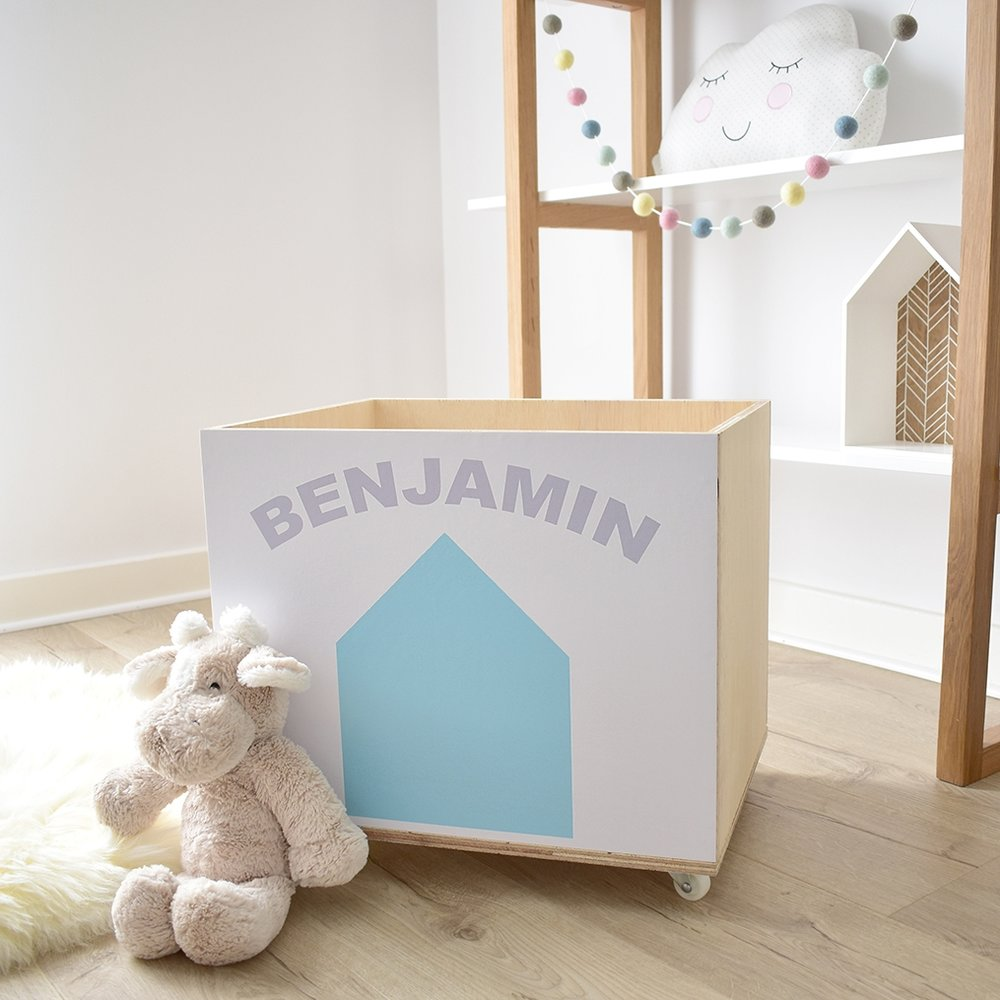 Beach Hut Personalised Toy storage wooden crate on wheels in blue