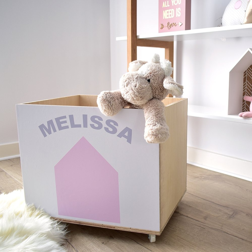 Beach Hut Personalised Toy Storage wooden crate on wheels in pink