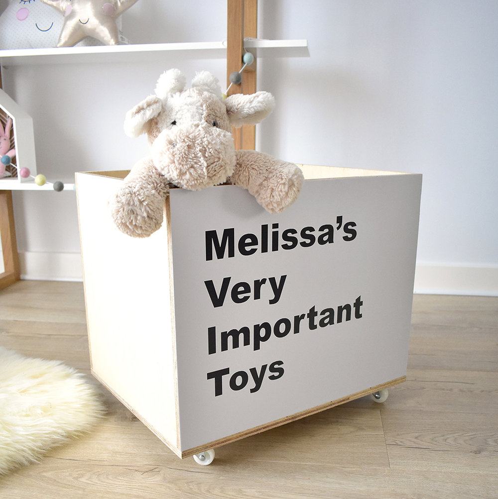Personalised toy storage crate on wheels