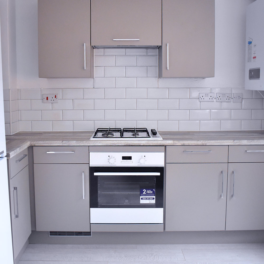 We sourced the kitchen from Ebay from a new build so it was brand new, however it needed adapting to the space which meant units trimmed and doors adjusted. For the cost of £521.11 it was worth all of it and it meant we could get a new kitchen within our budget. The worktop was sourced separately.