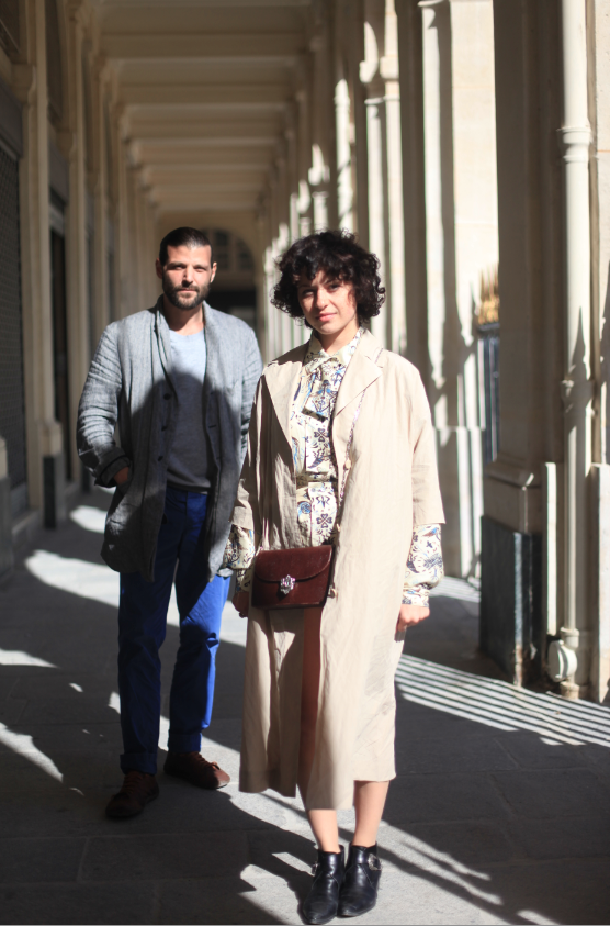Actor Pierre Jancou and actress Alia Shawkat on location at the Palais Royal in Paris