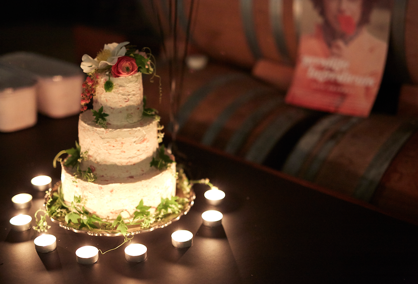 Celebration cake at the premiere after party at Potek winery. Cake by Lori Stern, photo: Leela Cyd