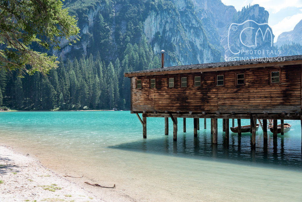 Hut on the Braies lake, South Tyrol, Italy