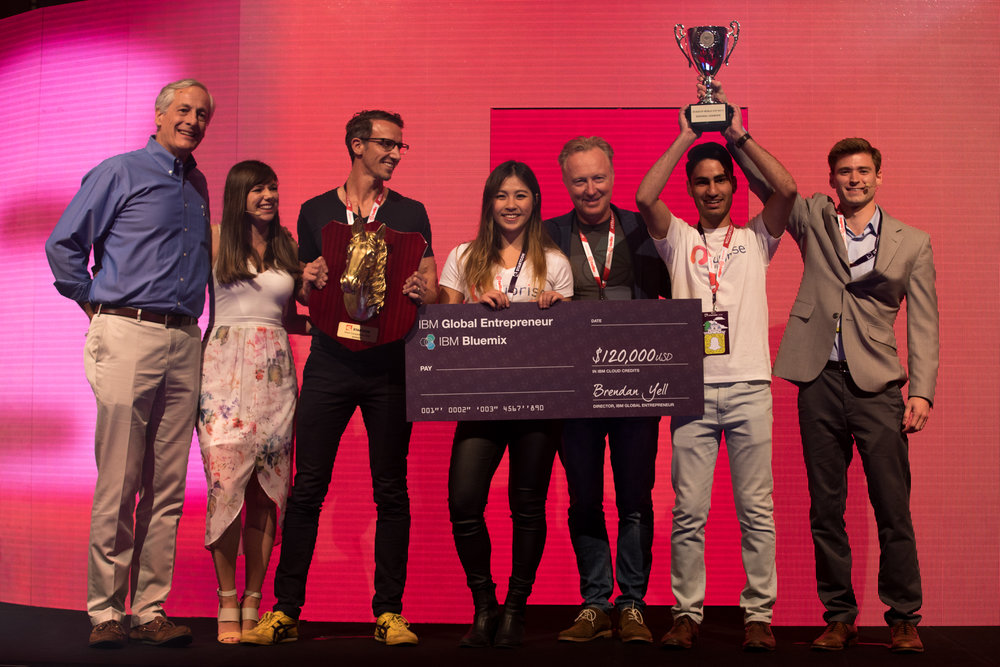 Pitch Competition Winners, Uprise, are presented with their trophy and prize