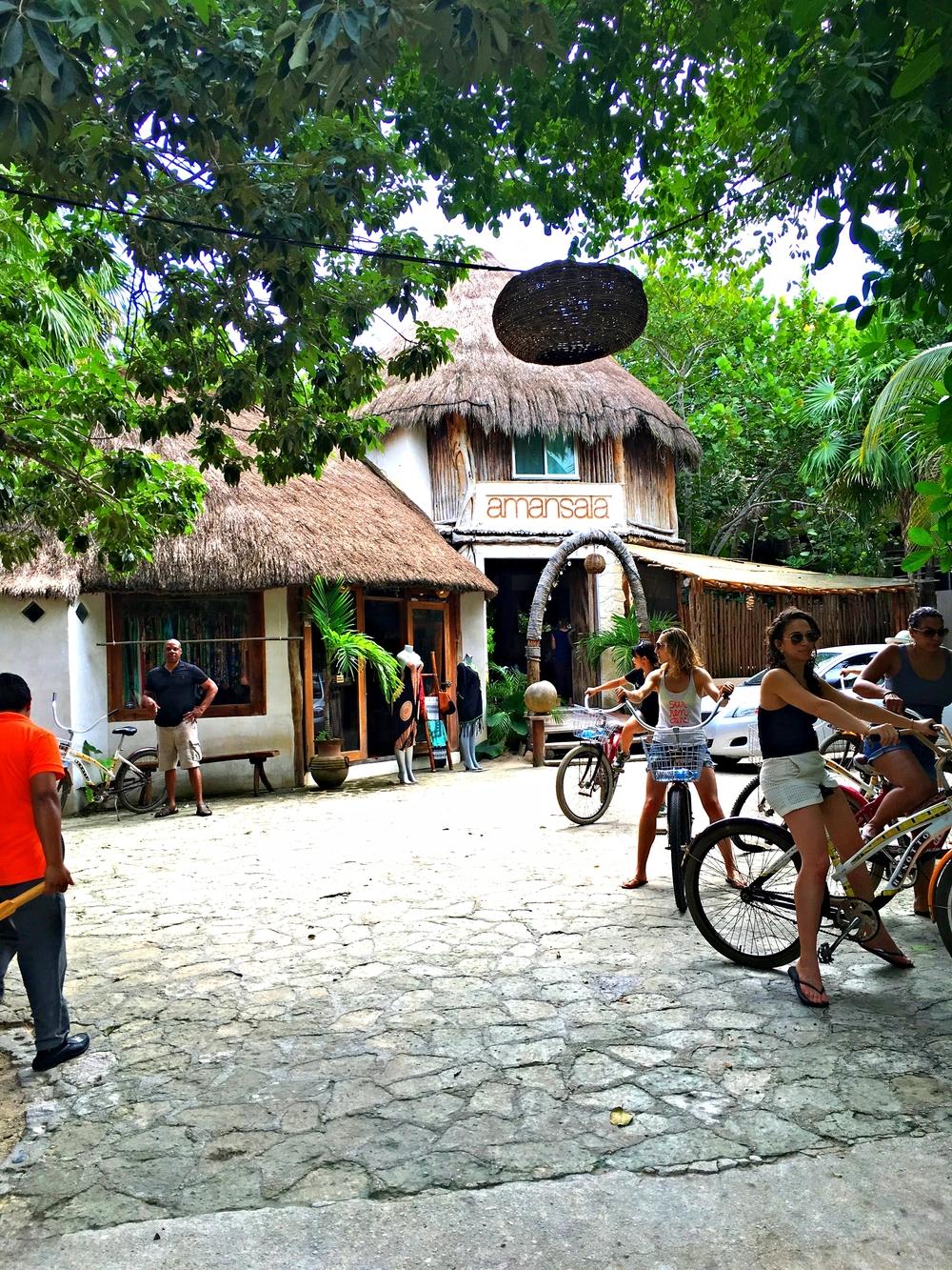 Street entrance to Amansala - bikes everywhere!