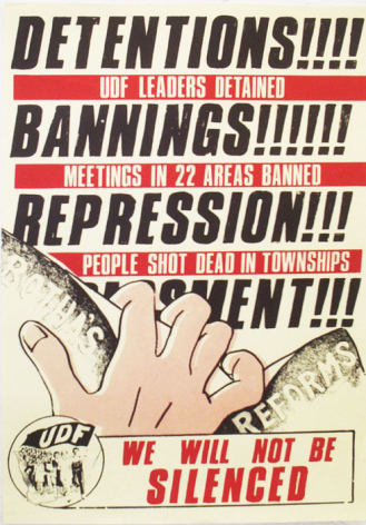United Democratic Front Poster, South Africa, 1980s