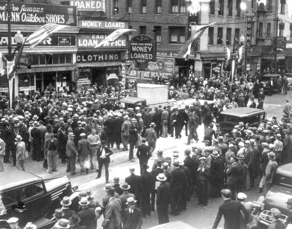 A march during a 1934 strike in San Francisco