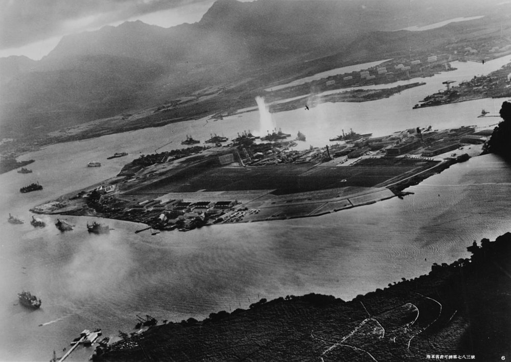 View from Japanese plan during Pearl Harbor attack