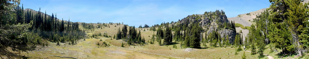 The low spot in the middle of the photo is Marmot Pass