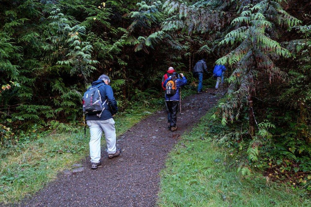 The hike to Murhut Falls begins