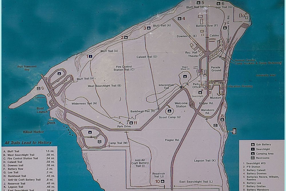 Fort Flagler trail map showing over 7 miles of trail