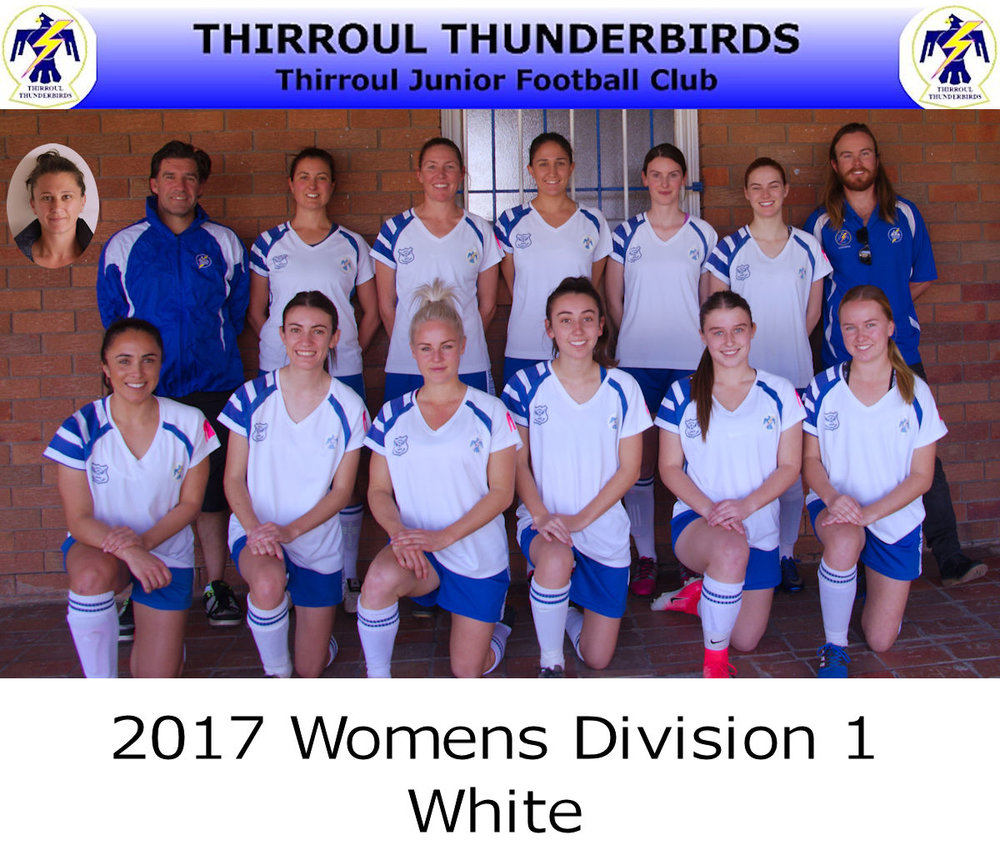 Thunderbirds Division 1 White: (Back) Peter Mcintyre (physio), Amy Ziebel, Kathryn Ward, Asha Meusburger, Miranda Blackbourn, Kirsten Ward, Adam Ward (manager). Front: Amanda Allnutt, Beth Grew, Misha Harrison, Zoe Grew, Claytyn Gehrke, Jenna Rose. Insert: Tina Siskoska (coach). Also played: Anna Sands, Chloe Hocking, Jenny Harrison.