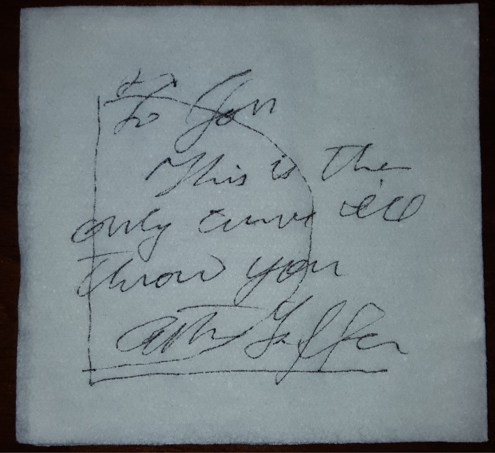 Art Laffer  Signed Laffer Curve Napkin