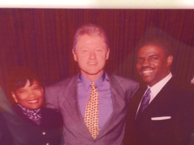 Professor Mark T. Harris, Esq. and Dr. Marianna Harris, EdD. with President Bill Clinton