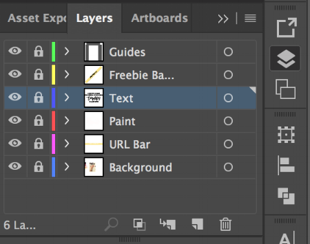 How my social media template layers are set up in Illustrator