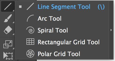Adobe Illustrator Tools – Line Segment Tool, Arc Tool, Spiral Tool, Rectangular Grid Tool, Polar Grid Tool