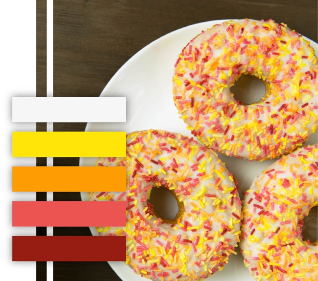 Donut color palette, colorful, bright, fun, pink, yellow, orange, color scheme
