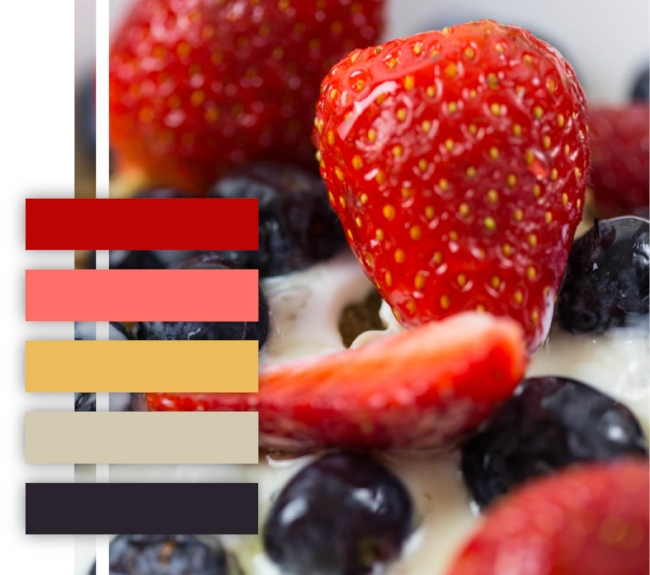 Strawberry, blueberry, yogurt parfait, color palette, color scheme, red, pink, orange, navy