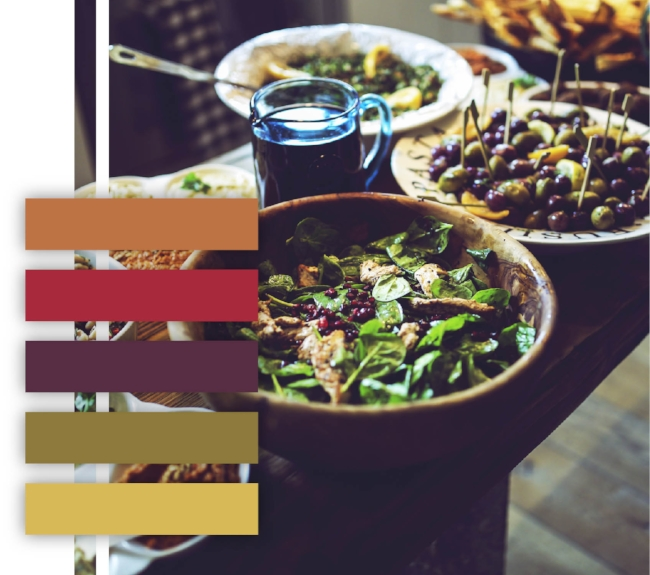 Salad color palette, rustic color scheme, neutral colors, dinner table, orange, red, purple, green, lime