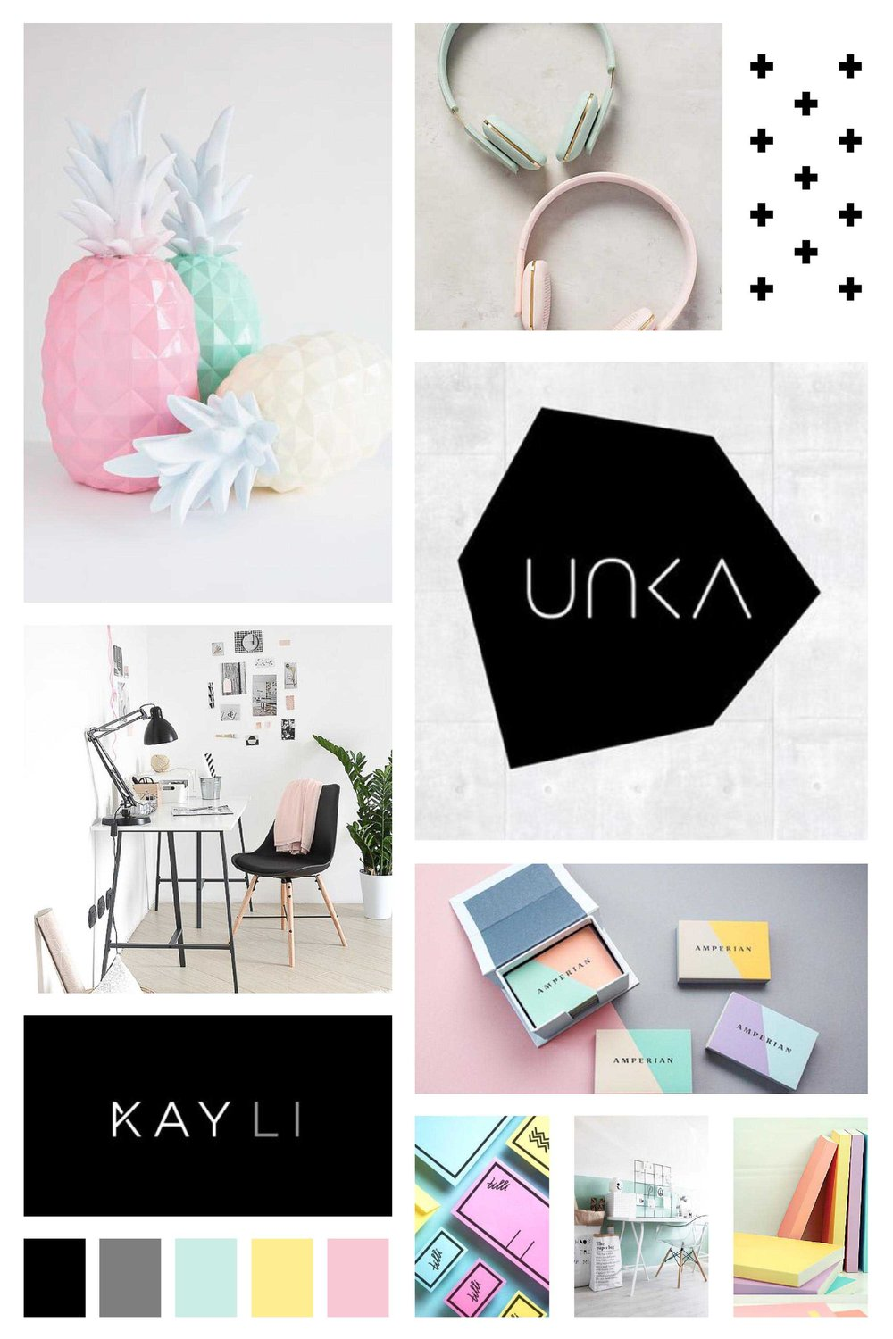 Sleek, modern, minimalist, pastel mood board for logo and brand inspiration.
