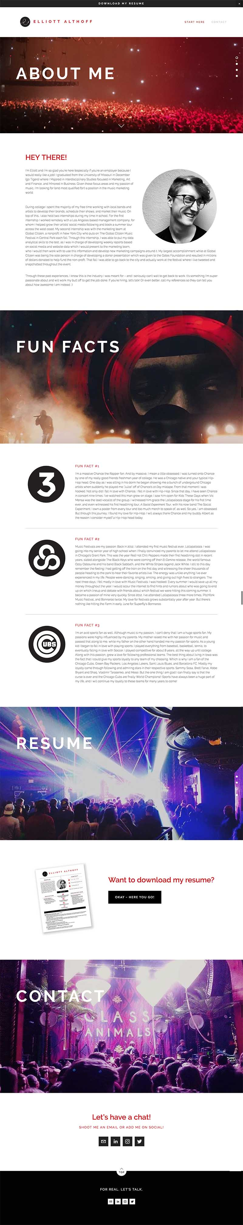 Music industry website design, sleek, modern, bold, black, white and red web design on Squarespace