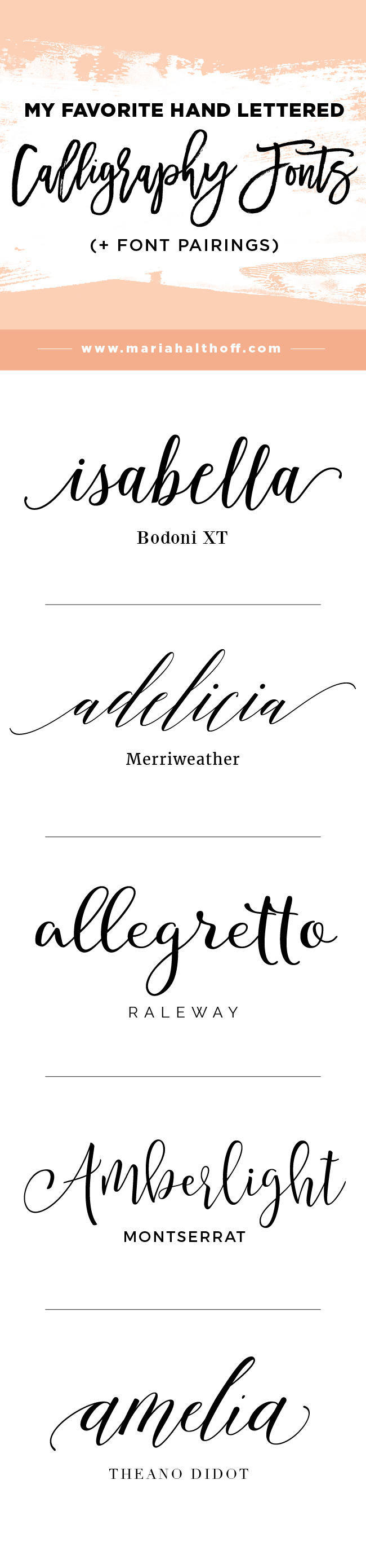 My Top 5 Favorite Hand Lettered Calligraphy Fonts Font Pairings