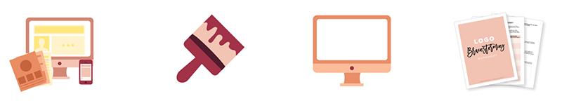 Branded custom icons designed in Illustrator