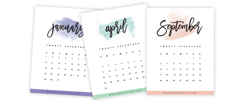 Calendar printables made in Illustrator