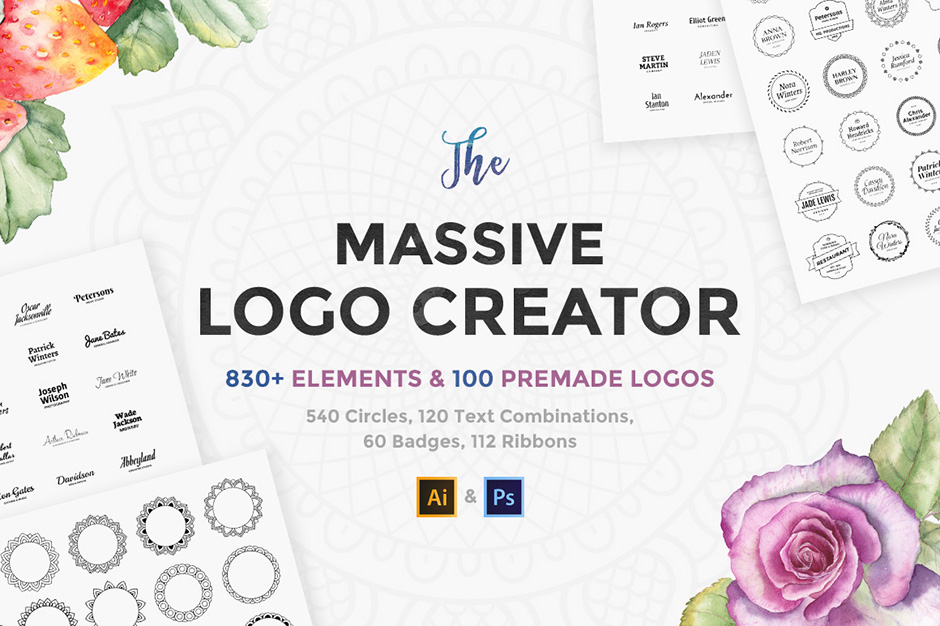 Customizable logo templates to use in Adobe Illustrator or Photoshop