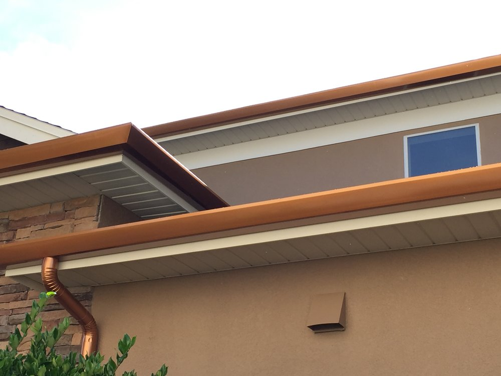 """6"""" CONTEMPORARY ALUMINUM GUTTER WITH 4"""" ROUND DOWNSPOUT IN COPPER TONE"""