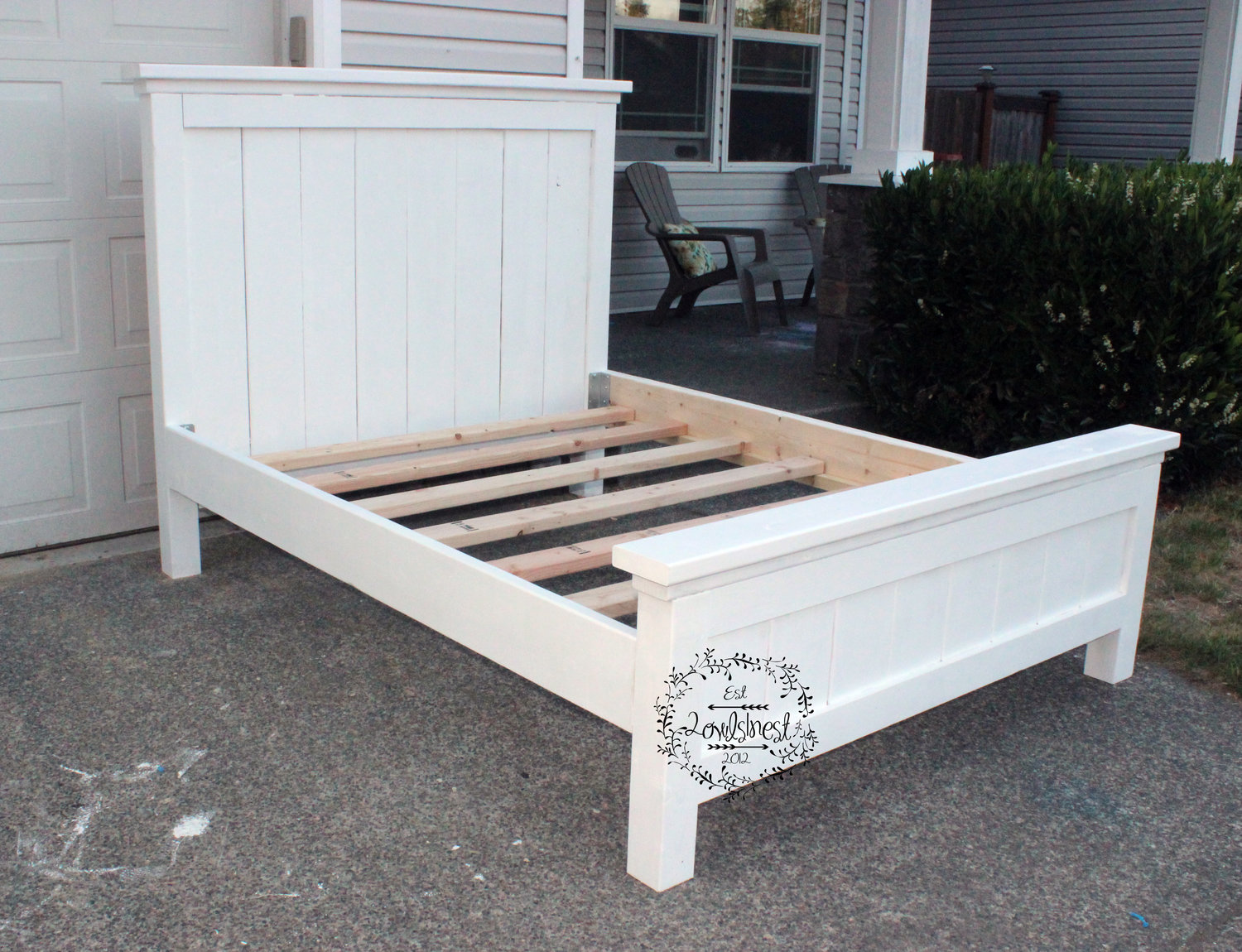 Queen bed side view - Queen Farmhouse Bed Frame